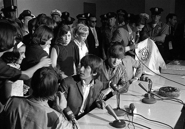 The Beatles at their 1964 press converence in Philadelphia in the basement of Constitution Hall 04
