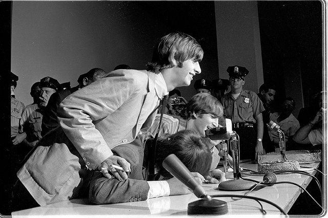 The Beatles at their 1964 press converence in Philadelphia in the basement of Constitution Hall 05